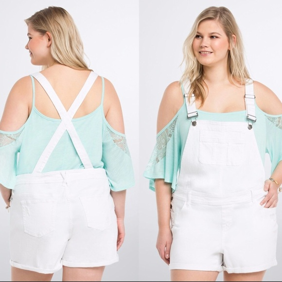 3edc1d1298a Torrid white overalls NWT size 14